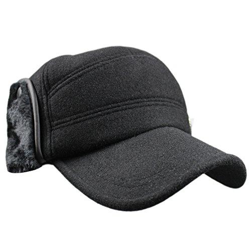 eYourlife2012 Mens Winter Wool Fleece Faux Fur Outdoor Peaked Baseball Cap  Hat With Ear Warmer 993bcb1407a4