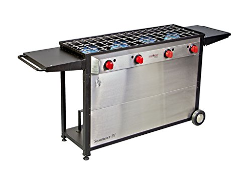 Camp Chef Somerset 4- Burner BBQ Cart, Catering, Family Reunion, Outdoor Kitchen, Backyard Jumbo Grill Fits 16″ Accessories (Orange Flame) For Sale