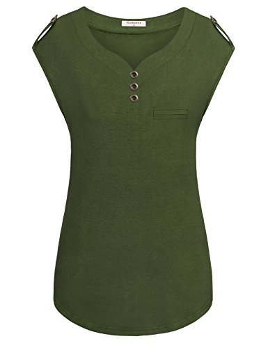 Nomorer Cap Sleeve Tee Shirt, Womens V Neck Button Embellished Tops and Blouses With Pocket Cut (Green, (Womens Embellished V-neck)