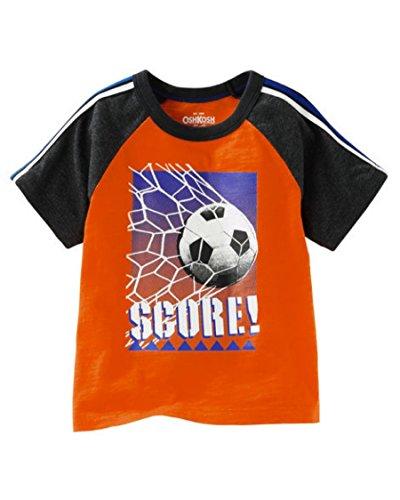 Playera Tipo Camiseta para Niño Manga Corta Estampado Futbol Soccer Color  Naranja y Negro 100% 90b6559840b