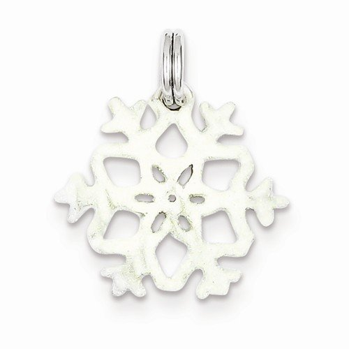 Solid 925 Sterling Silver Pendant Enameled Snowflake Charm (21mm x 19mm) (Enameled Snowflake Charm)