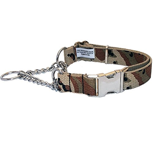 Desert Storm Camo Martingale Dog Collar | Made in the USA | Adjustable, Small, Medium, Large, Top Quality, Premium, Heavy Duty, Durable, Strong, Nickel Plated Steel, Training - The Ultimate Leash ()