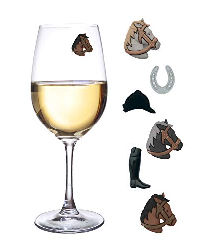 Kentucky Derby Party Wine Charms for Glasses Magnetic Drink Markers Set of 6 Charms by Simply -