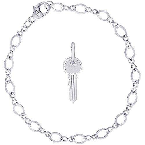 (Rembrandt Charms Sterling Silver House Key Charm on a Figure Eight Link Bracelet, 7