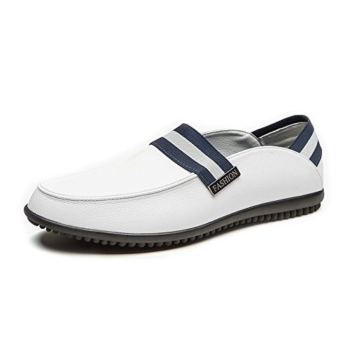 Guida Fashion Men Basse Pelle Genunie Scarpe Mocassini da ZX Flats On Slip Traspiranti Basso Classic for Bianca in Tacco Slipper 1UwxZO