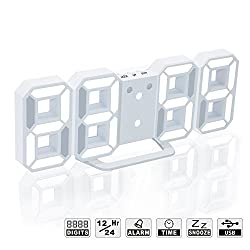 LED Digital Alarm Clock For Desk / Shelf / Tabletop, Modern Home Decoration 3D Wall Clock, Easy To Read at Night, Loud Alarm and Snooze, Big Digit Display (White Frame, White Light)