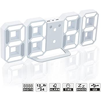 Amazon 3d digital alarm clock wall clock led light with 1224 led digital alarm clock for desk shelf tabletop modern home decoration 3d wall clock easy to read at night loud alarm and snooze big digit display fandeluxe Choice Image