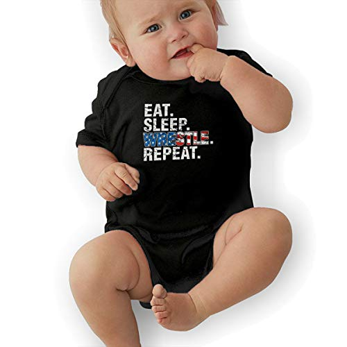 QUCHEN Eat Sleep Wrestle Repeat Wrestling Baby Boys Girls Long Sleeve Bodysuits Rompers Outfits 6-48 Months -