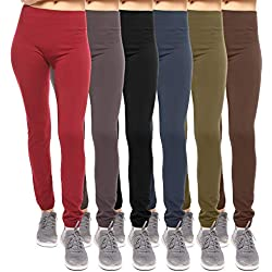 Free to Live 6 Pack Seamless Fleece Lined Leggings for Women - One Size