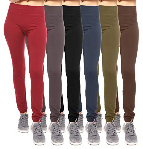 Solid Color Leggings - 6-Pack: Women's Free to Live Seamless Fleece Lined Leggings - Assorted Colors OSFM