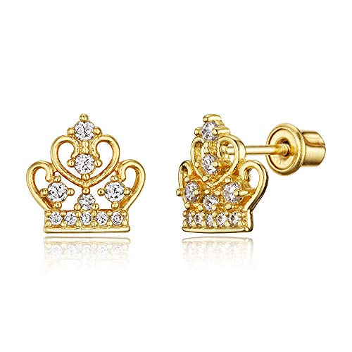Gold Plated Brass Earrings - 14k Gold Plated Brass Cubic Zirconia Princess Crown Screwback Girls Earrings with Sterling Silver Post