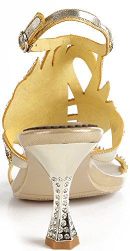 Abby Gsl043 Kvinna Unik Sexig Bröllop Brud Tärna Party Prom Visas Klänning Krängt Kran Lädersandals Guld (kon Hälen)