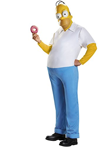 Disguise Men's Homer Deluxe Teen Costume, Multi, -