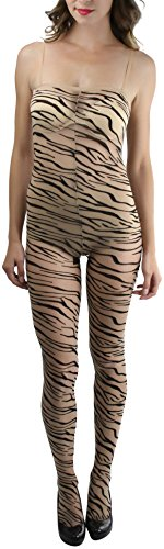 ToBeInStyle Women's Tiger Print Spandex Crotchless Bodystocking - BEIGE/BLACK ()
