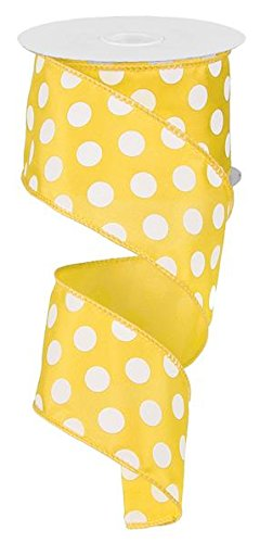 Polka Dot Wired Edge Ribbon (2.5'', Yellow White) - 10 Yards : RG158829 by Expressions