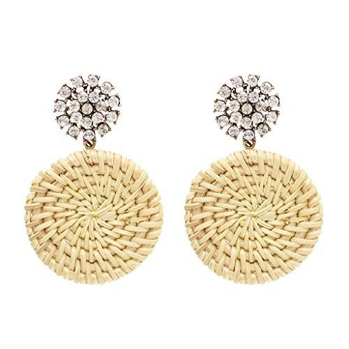 Korea Temperament Personality Creative Bohemian Handmade Rattan Geometric Circle Statement Pendant Rhinestone Earrings Accessories Ladies Jewelry White