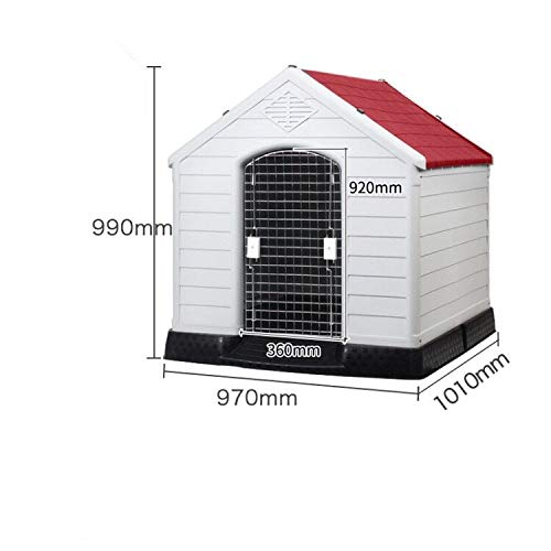 Red 97X100X99CM red 97X100X99CM YSYPET Deluxe durable Plastic Dog Cat Kennel House Weatherproof for Indoor and Outdoor Home of Animal Pet Shelter Flat Pack Easy DIY Assembly Easy to clean With door for large dogs, red, 97X100X99CM