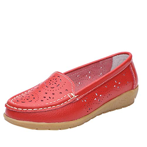 (Bravetoshop Spring and Autumn Embossed Women's Shoes Mother Shoes Flat - Bottomed Bean Shoes(Red,Asian 40))