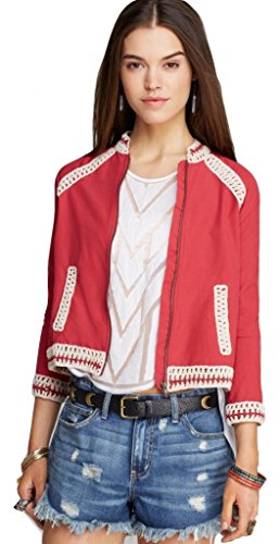 Free People Womens Crochet Inset Baseball Jacket , M, - Blazer Ruby Red