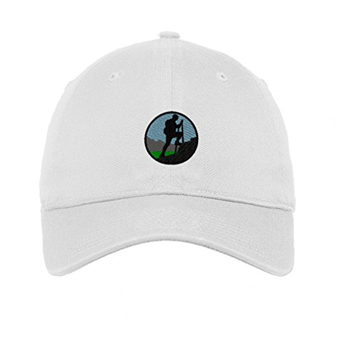 Sport Hiking Mountain Logo Embroidery Unisex Adult Flat Solid Buckle Cotton 6 Panel Low Profile Hat Cap - White, One Size
