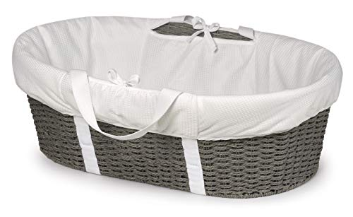 Badger Basket Wicker-Look Woven Baby Moses Basket with Bedding, Sheet, and Pad, Gray/White