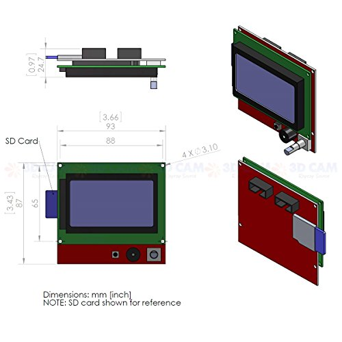 [3D CAM] Full Graphic Smart Controller LCD Display for RAMPS 1 4 RepRap 3D  Printer Electronics (128 x 64 display with SD card reader)