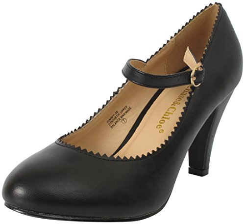 Chase & Chloe Women's Round Toe Mid Heel Mary Jane Style Dress Pumps Shoes,10 B(M) US,Black