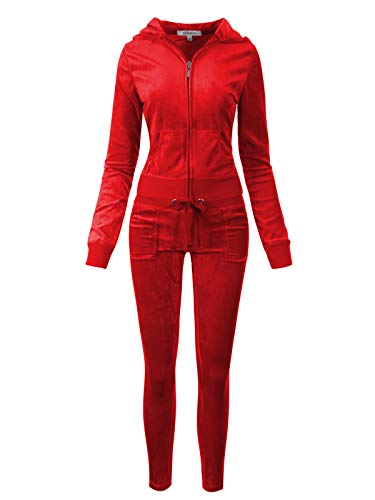 (Instar Mode Women's Casual Basic Solid Soft Velour Zip up Hoodie Sweatsuit Set Red L)
