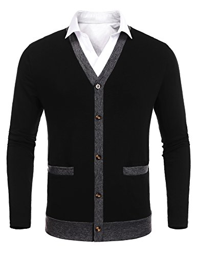 Button Up Cotton Cardigan - Coofandy Men's Slim Fit Cardigan Casual Button up V-Neck Cotton Sweater Shirt With Pockets,Black,Small