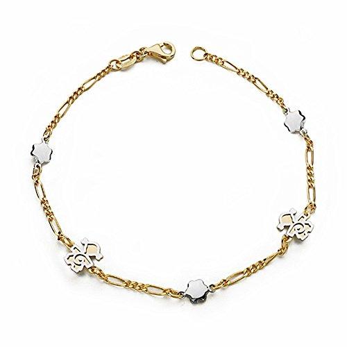 Bracelet 18k gold 19cm bicolor. fille [AA1703GR] - personnalisable - ENREGISTREMENT inclus dans le prix