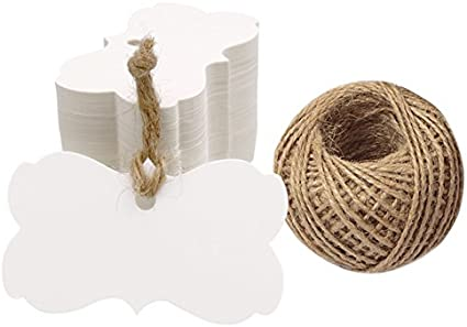 100 Brown Kraft Paper Gift Tags Christmas Scallop Label Blank Luggage String Je