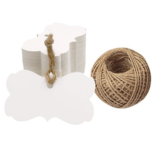 Butterfly Gift Tags - Kraft Paper Blank Gift Tags with String,100 Pcs White Gift Tag Wedding Favor Hang Tags with 100 Feet Natural Jute Twine (Butterfly Shape)