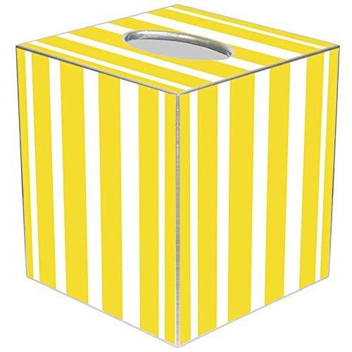 Marye-Kelley Yellow Stripe Tissue Box Cover Tissue Box Cover Square Paper-Mache Tissue Box Cover Holder Bathroom Vanity Countertops, Bedroom Dressers, Night Stands, (Yellow Paper Mache)