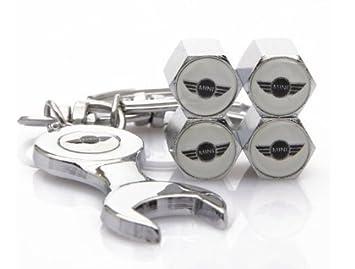 Mini coche rueda tapones para válvulas de neumáticos y llavero con llave plana Set de 4: Amazon.es: Coche y moto