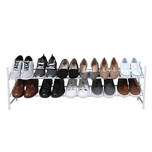 Smart Design 2-Tier Stackable Exapandable Steel Shoe Rack - Room for 12-15 Pairs of Shoes - Easy Assembly - for Entryway, Closet, & Garage - Home Organization (24-45 x 14.15 Inch) [White]