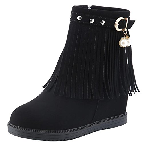 Mashiaoyi Binying Women's Inner-Increaser Flat Zip Tassel Snow Boots Black eklbWDRY
