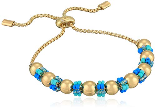 Kenneth Cole Women's Turquoise Woven Seed Bead Cluster Adjustable Slider Bracelet, One Size