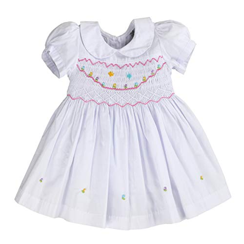 (sissymini - Infants and Toddlers Classic Hand Smocked & Embroidered Dress | Lil Sunshine in Pure White 2T)