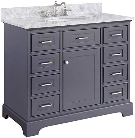 Aria 42-inch Bathroom Vanity Carrara Charcoal Gray Includes Charcoal Gray Cabinet with Authentic Italian Carrara Marble Countertop and White Ceramic Sink