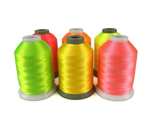 (Sinbel Polyester Embroidery Thread 6 Neon Fluorescent Colors 1000Meters/1100Yards Per Spool for Brother Babylock Janome Singer Pfaff Husqvaran Bernina Machines )