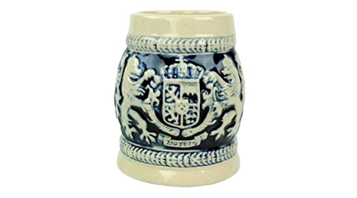 Cobalt Blue Ceramic Shot Beer Stein Germany Bayern Coat of Arms-2.5