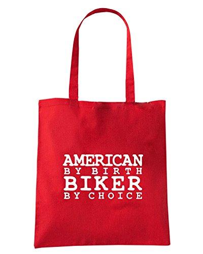 T-Shirtshock - Bolsa para la compra FUN0568 american by birth biker by choice shirt Rojo
