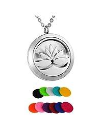 HooAMI Lotus Flower Aromatherapy Essential Oil Diffuser Necklace Pendant Locket Jewelry