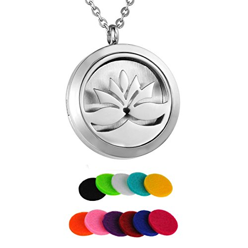 HooAMI Silver Lotus Flower Aromatherapy Essential Oil Diffuser Necklace Pendant Locket Jewelry