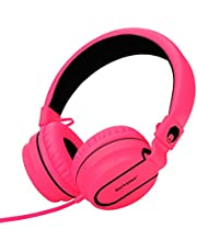 rockpapa 950 Stereo Lightweight Foldable Headphones Adjustable Headband With Microphone 3.5mm For Cellphones Smartphones iPhone Tablets Laptop Computer Mp3/4 DVD Black Pink