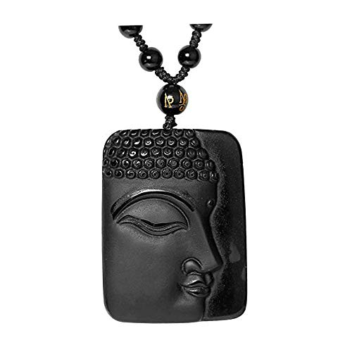 Reizteko Hand Carved Natural Genuine Obsidian Talisman Patron Saint Buddha Head Pendant Adjustable Woven Rope Beads Necklace Amulet Hanging Ornament (Buddha Side Face) ()