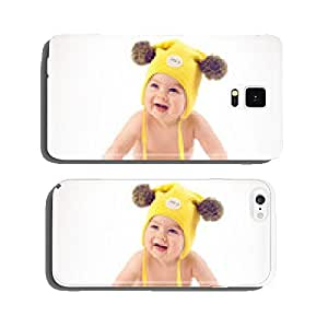 Baby in yellow winter hat lying on the floor cell phone cover case Samsung S6