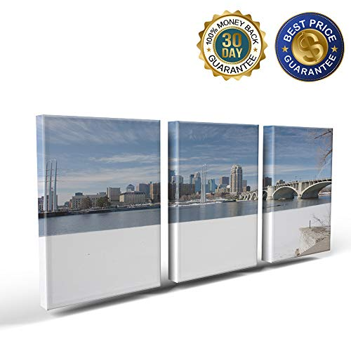 3 Panels Canvas Print Wall Art Winter Snow Scene in Minneapolis City Wall Decor Pictures for Living Room Modern Artwork Paintings Photographs Stretched and Framed Ready to Hang 16x24inch -