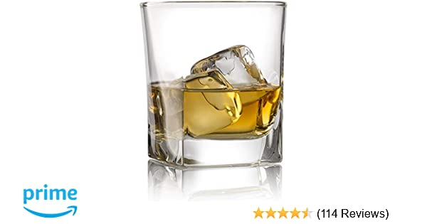 b05fabcd72a Double Old Fashioned Whiskey Glass (Set of 4) with Granite Chilling Stones  - 10 oz Heavy Base Rocks Barware Glasses for Scotch, Bourbon and Cocktail  ...