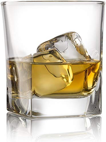 Double Old Fashioned Whiskey Glass (Set of 4) with Granite Chilling Stones - 10 oz Heavy Base Rocks Barware Glasses for Scotch, Bourbon and Cocktail - Ounce 10 Cocktail